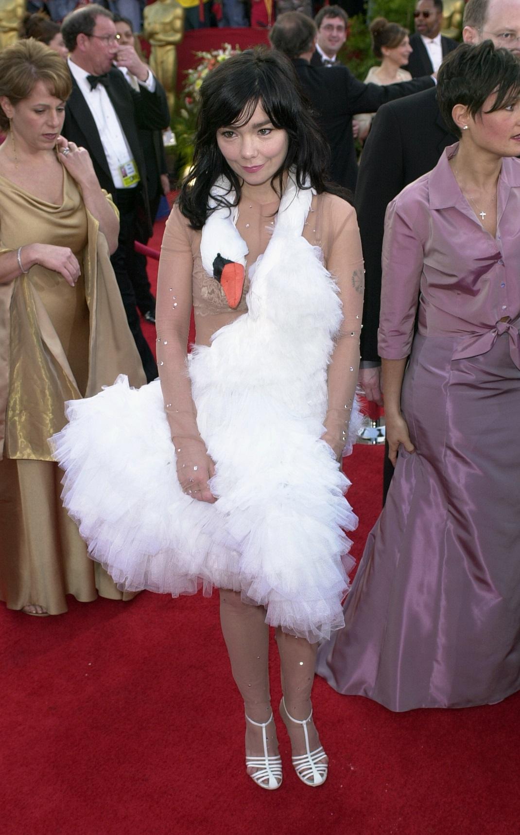 Η Μπιόρκ με φόρεμα κύκνο