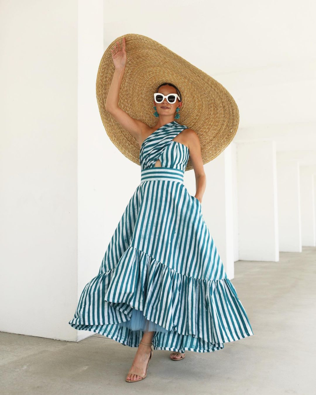 blaireadiebee ριγέ φόρεμα ψάθινο καπέλο