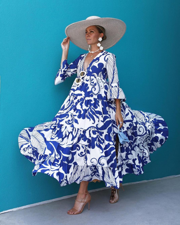 blaireadiebee εμπριμέ φόρεμα ψάθινο καπέλο