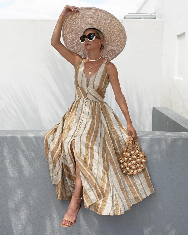 blaireadiebee ριγέ φόρεμα με κουμπιά ψάθινο καπέλο