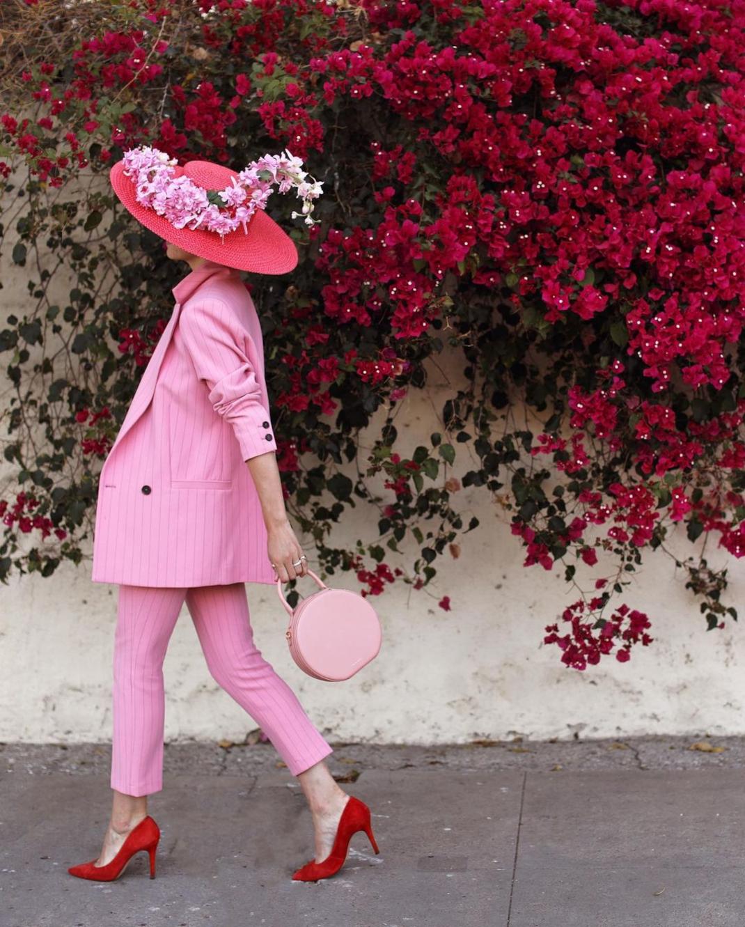 blaireadiebee ροζ κοστούμι ψάθινο καπέλο