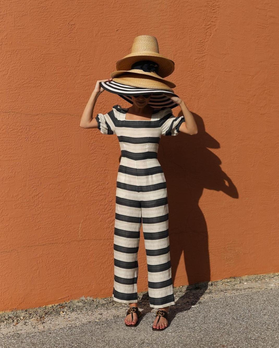 blaireadiebee ολόσωμη φόρμα ψάθινο καπέλο