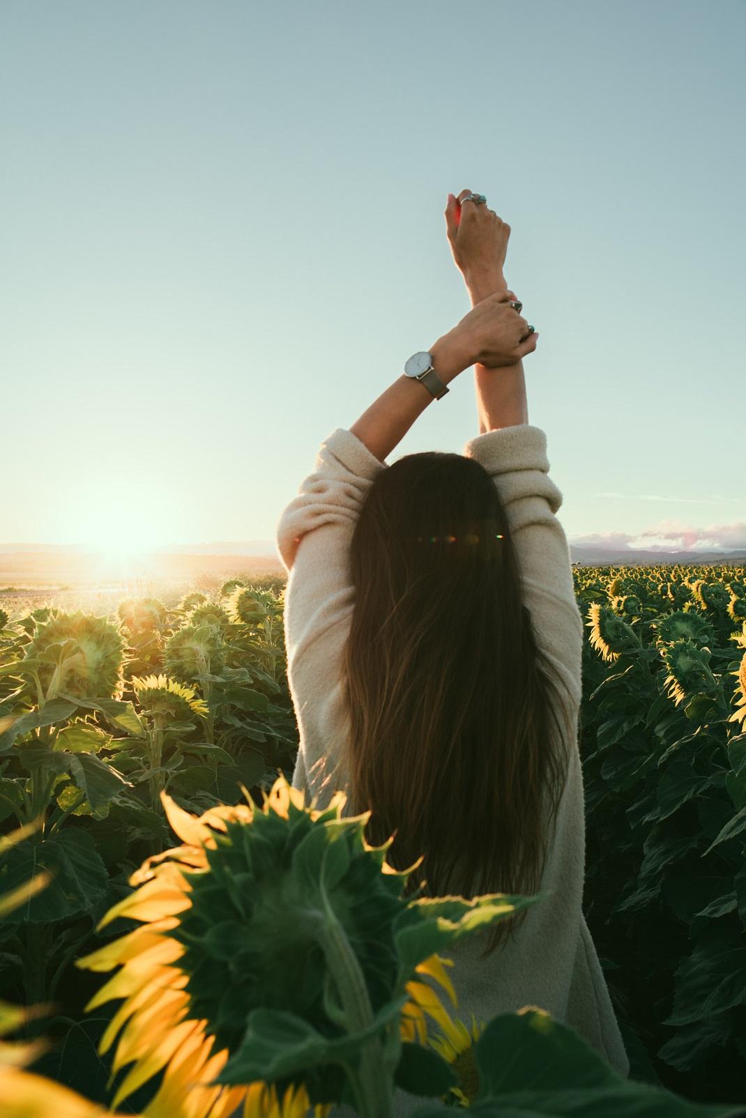 Γυναίκα ανάμεσα σε ηλιοτρόπια παίρνει τη ζωή στα χέρια της