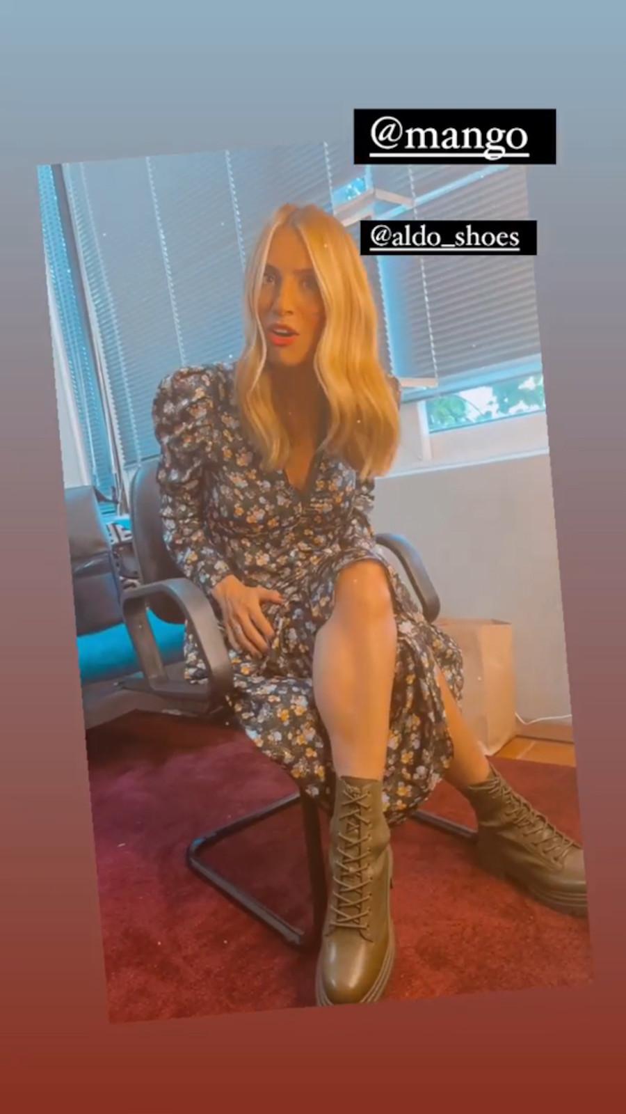 H Μαρία Ηλιάκη με φλοράλ φόρεμα από τα Mango