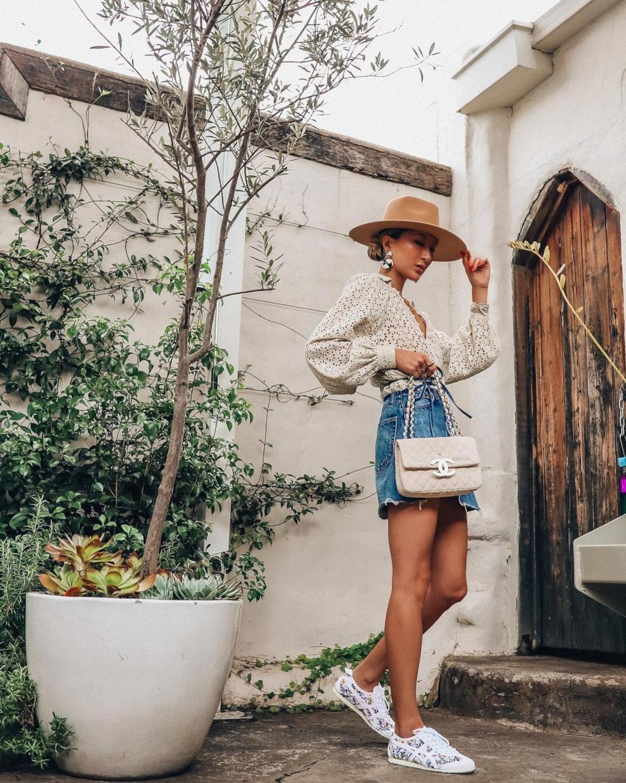 woman Jean skirt fedora hat
