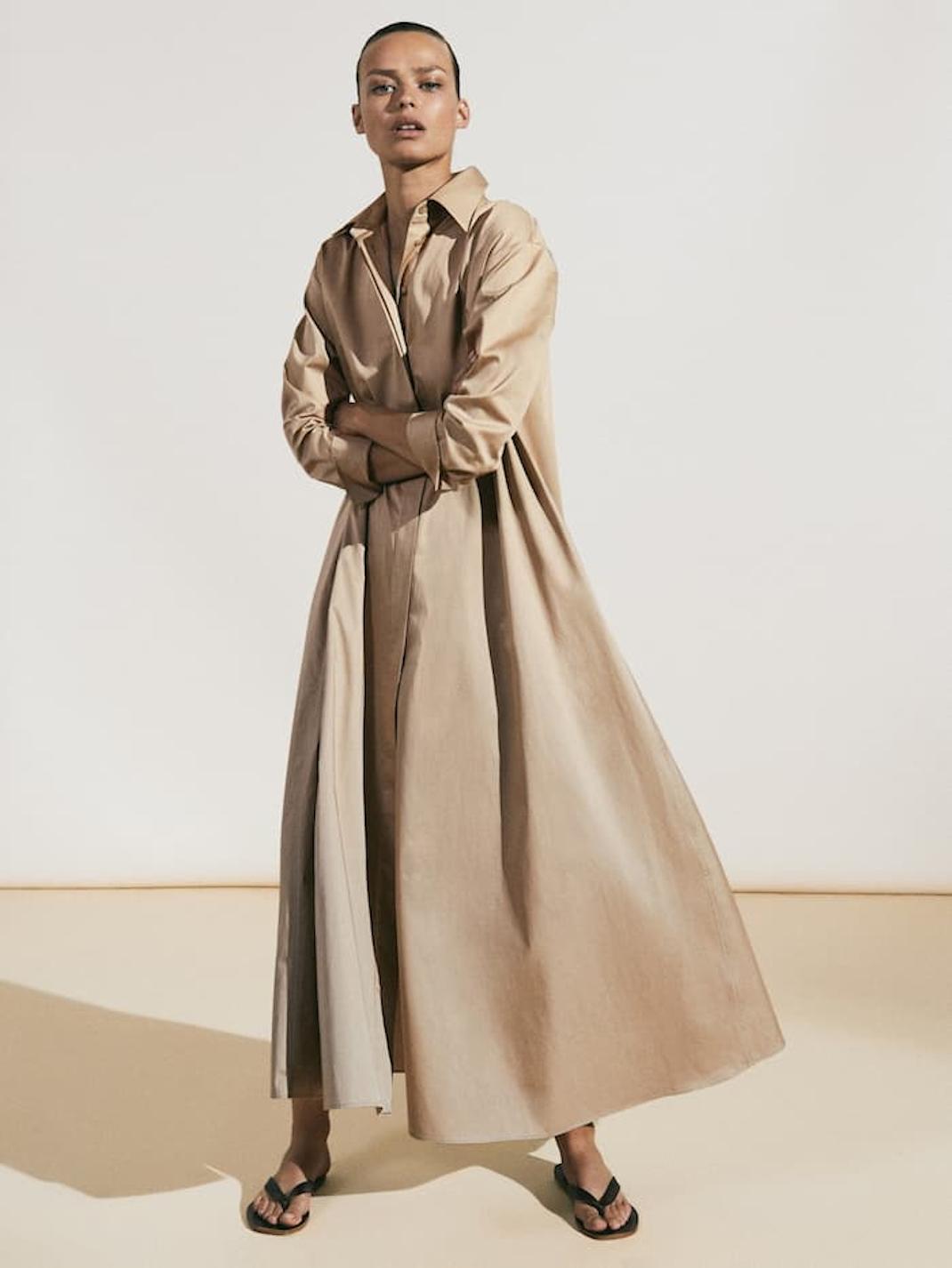 μπεζ φόρεμα Massimo Dutti
