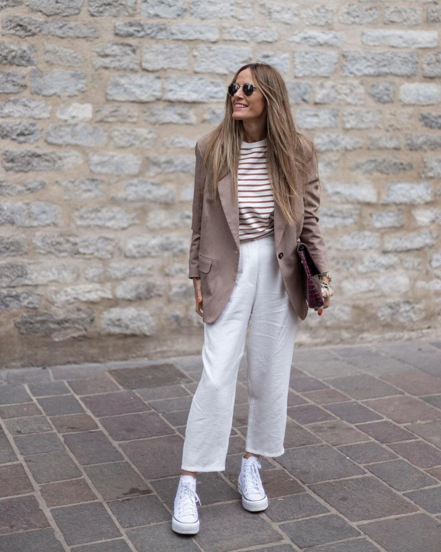 woman stripes T-Shirt oversized jacket