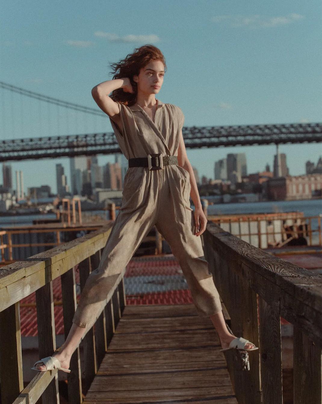 μπεζ ολόσωμη φόρμα Zara