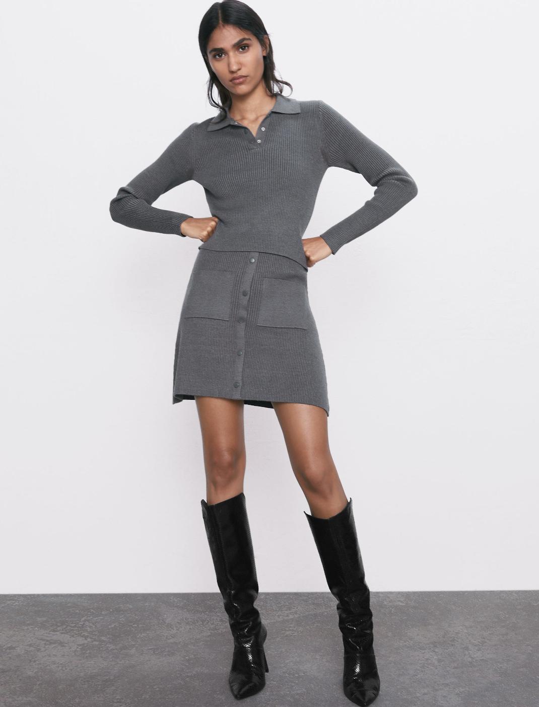 γυναίκα με τοπ και φούστα Zara
