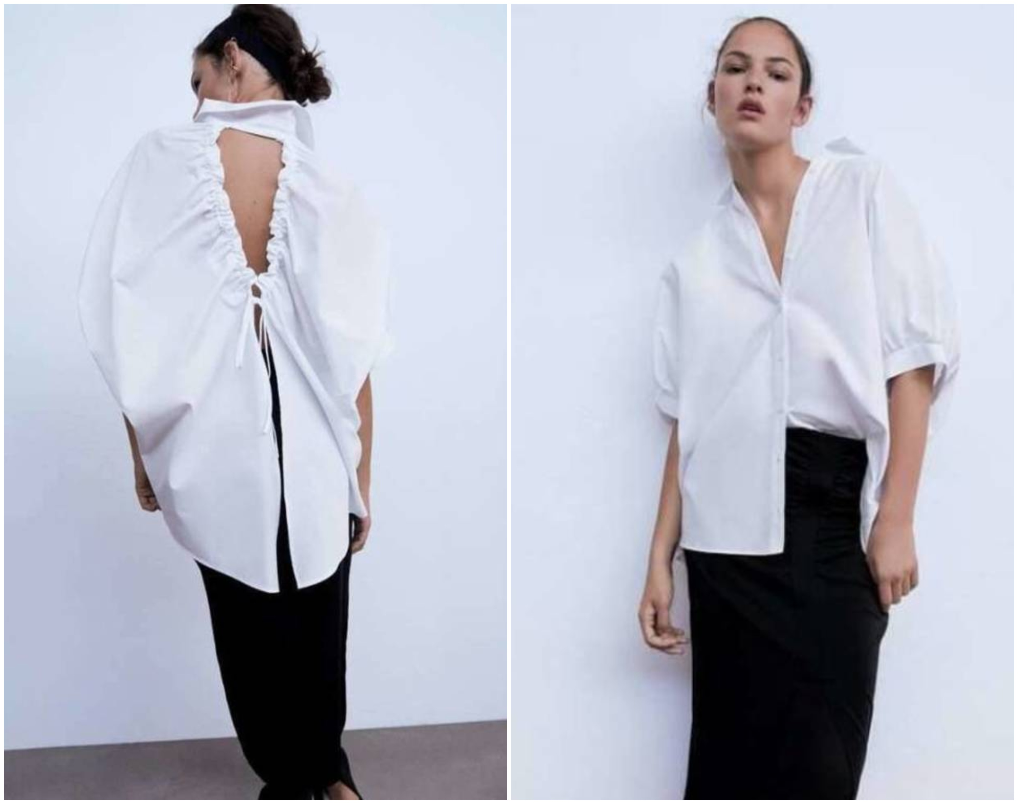 μοντέλο με λευκό πουκάμισο Zara