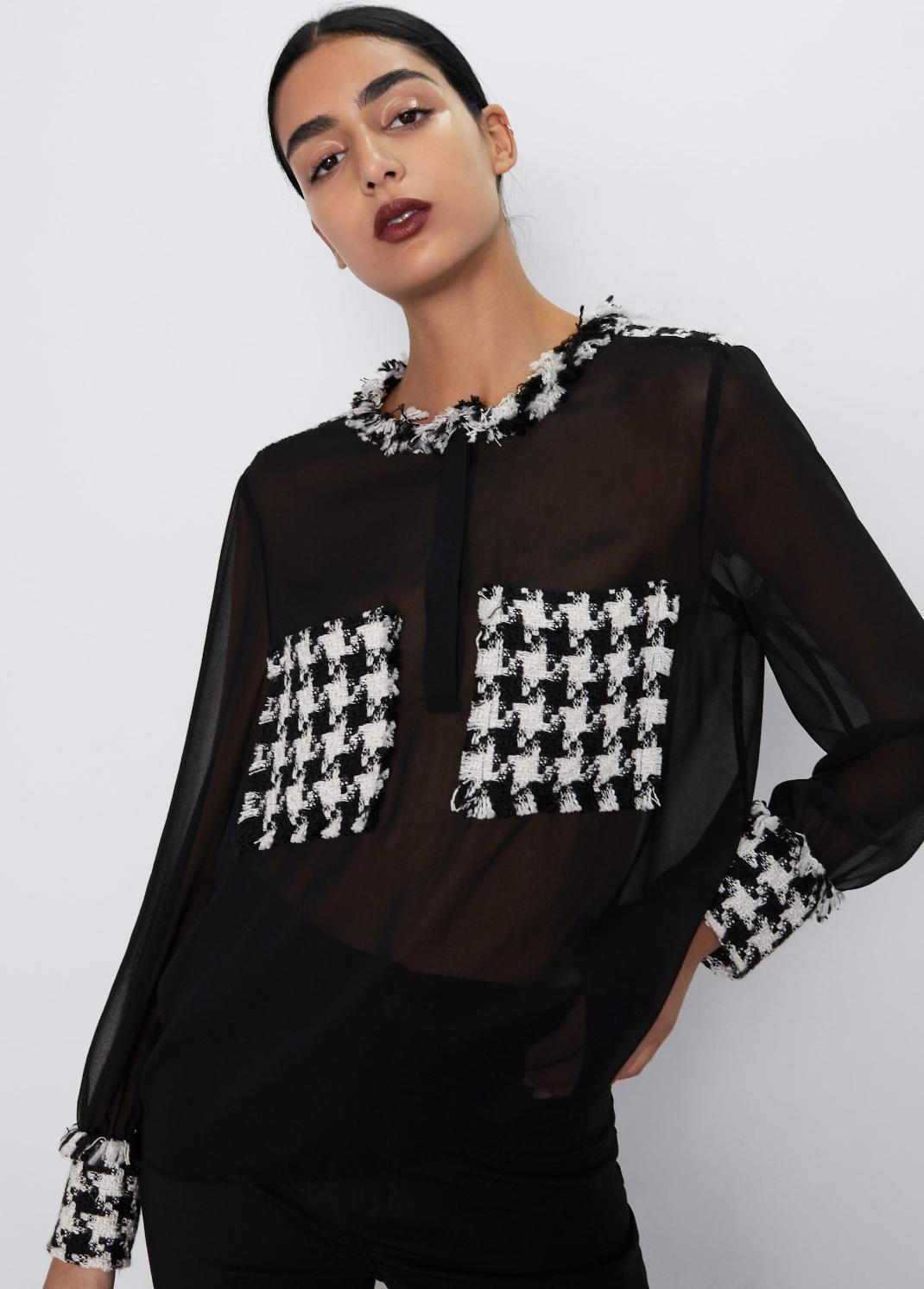 γυναίκα με πουκάμισο Zara