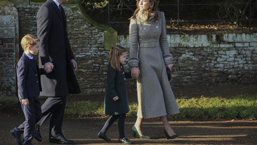 Η πριγκίπισσα Σάρλοτ, ο πρίγκιπας Τζορτζ, ο πρίγκιπας Ούλιαμ και η Κέιτ Μίντλετον